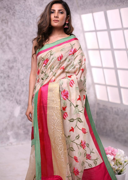 Exclusive embroidered chanderi saree & zari work border