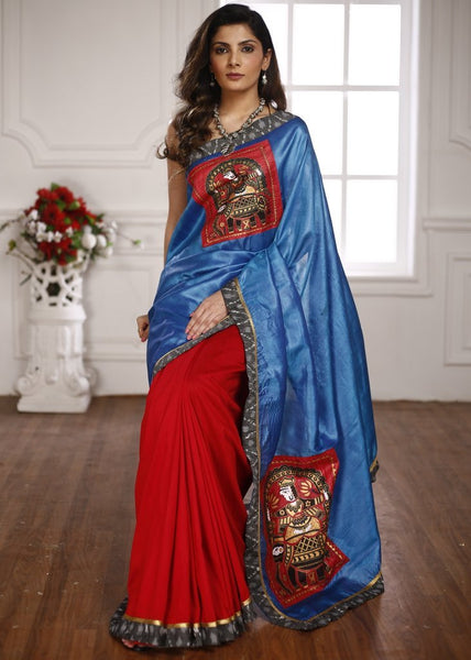 Pure blue tussar silk with handpainted madhubani work & red cotton silk pleats saree