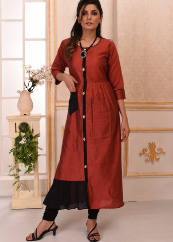 Maroon cotton silk kurti with cowrie buttons