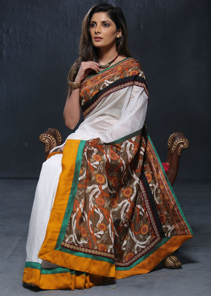White chanderi saree with printed border and pallu