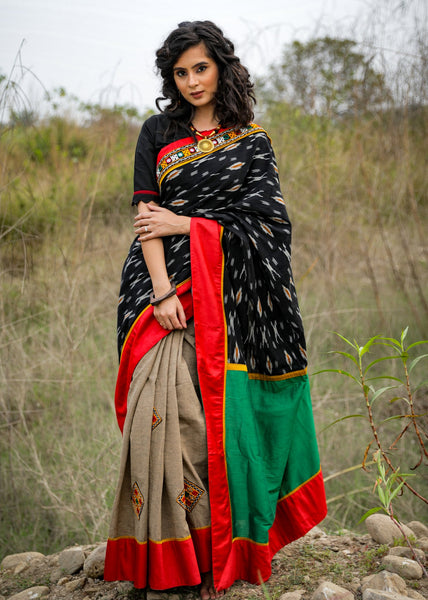 Exclusive black ikat & beige handloom cotton saree with embroidered kutch mirror work patches