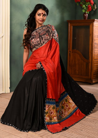 Red & black combination semi silk saree with hand painted madhubani & kalamkari paintings