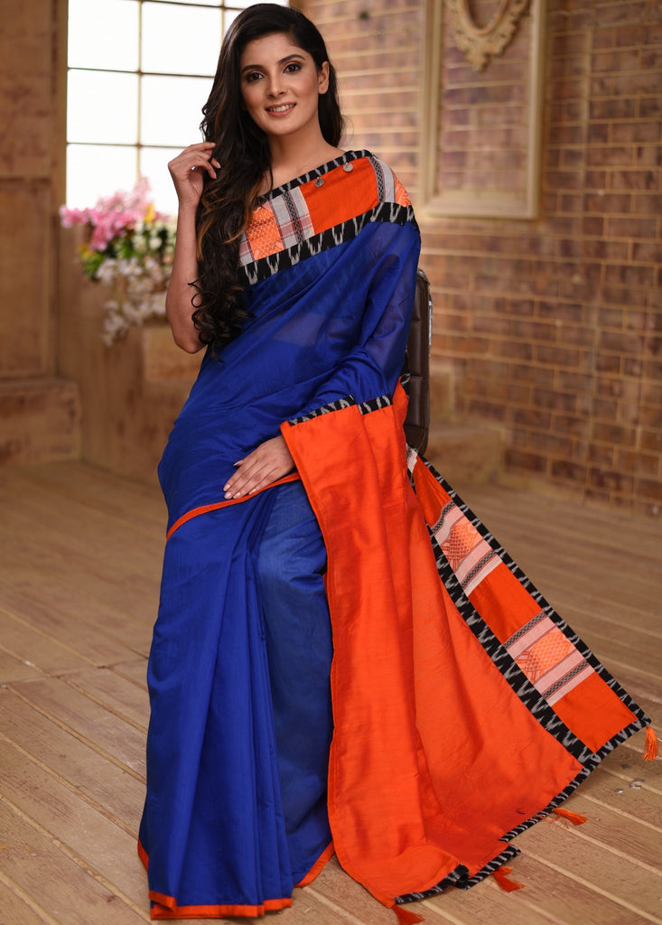 Blue chanderi saree with bengal handloom woven border - Sujatra