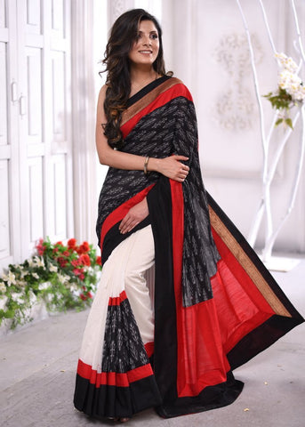 Combination of silk ikat & chanderi pleats designer saree with exclusive zari border