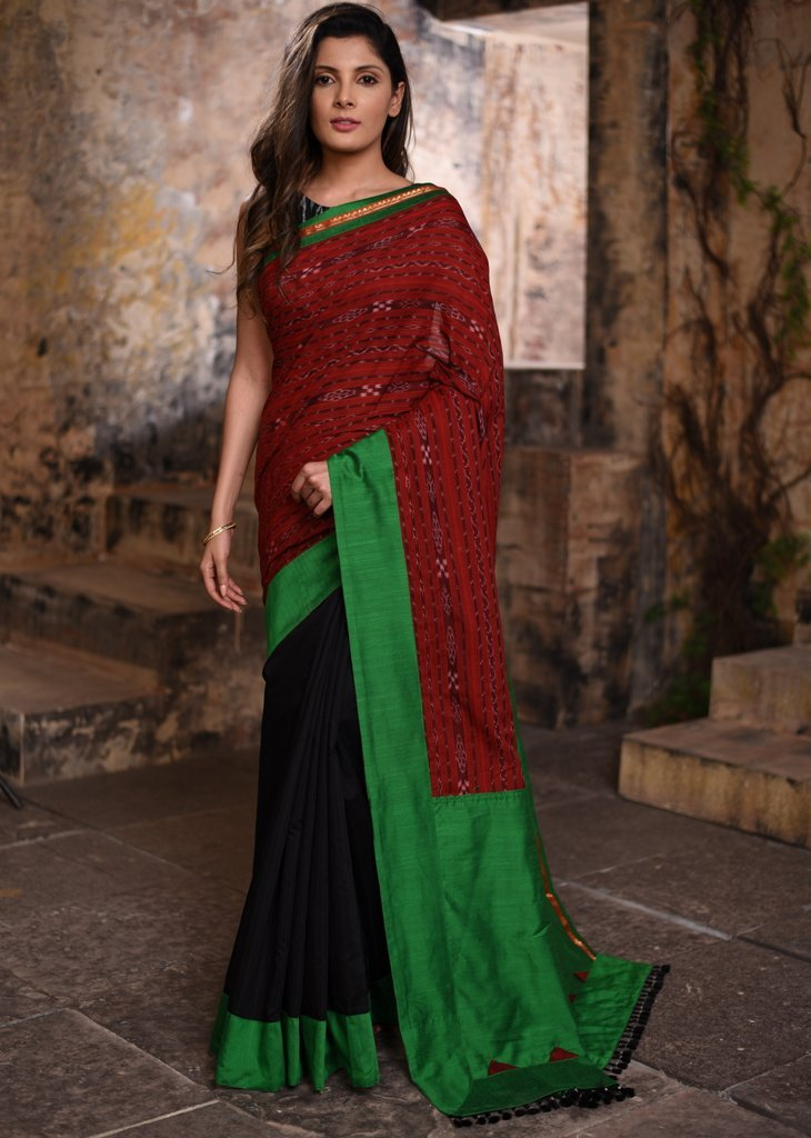 Exclusive sambalpuri ikat & chanderi combination saree