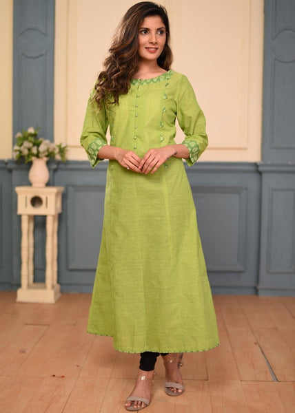 Green cotton dress with ikkat combinations