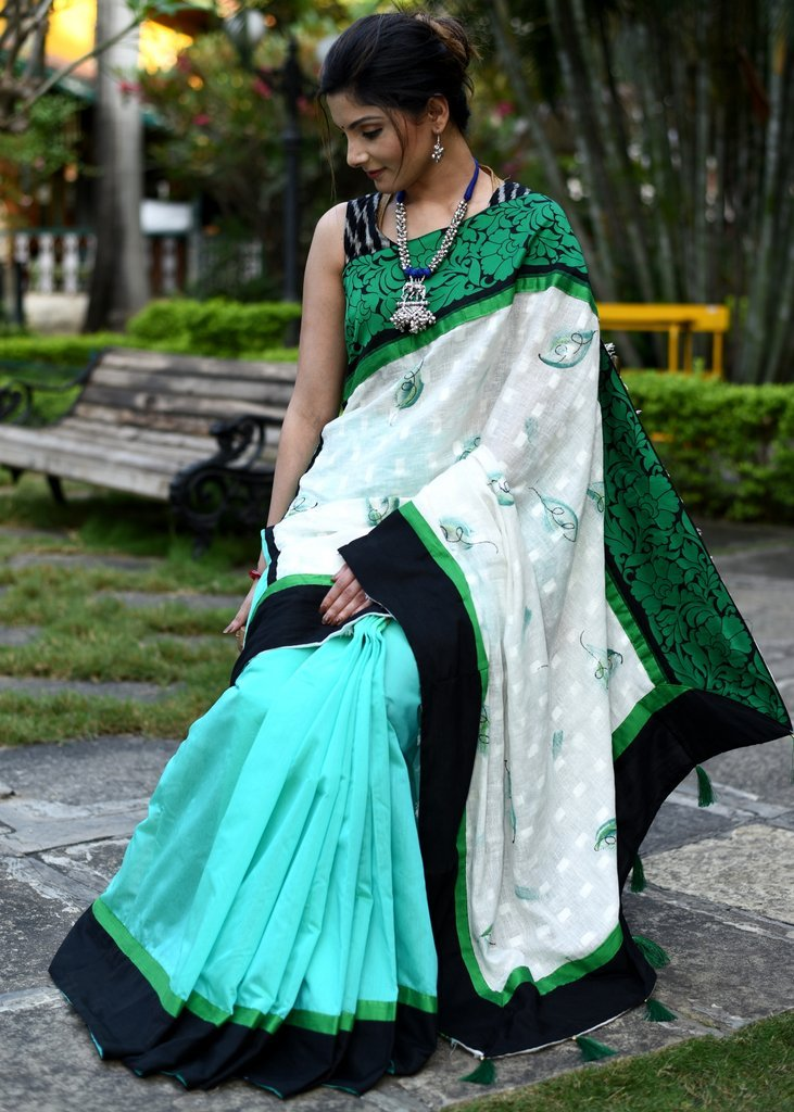 Exclusive printed linen & green chanderi pleats combination with zari border saree - Sujatra
