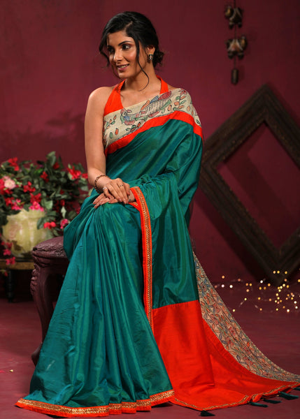 Exclusive pure mulberry silk saree with hand painted madhubani work and zari border