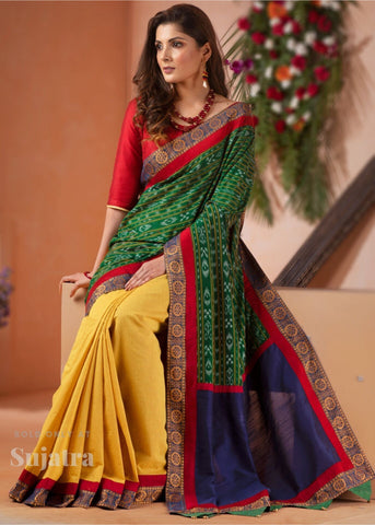 Exclusive orrisa ikat & handloom cotton combination saree with orrisa chakra border