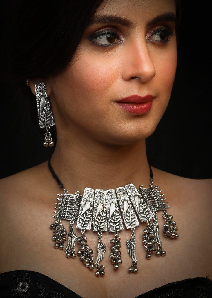 German Silver oxidised necklace with ghungroo tassels & earrings