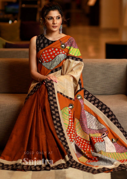 Exclusive hand painted gond tribal art saree on brown handloom cotton
