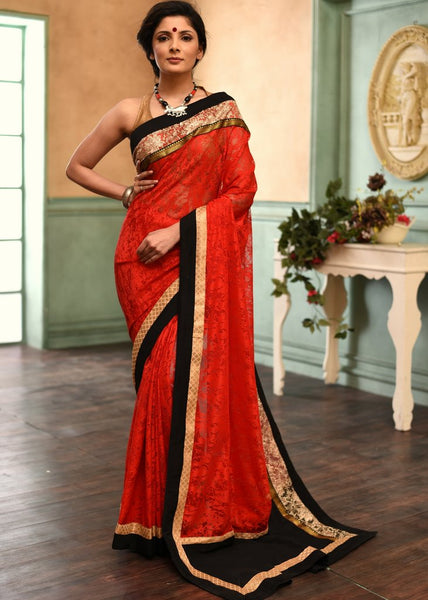 Exclusive red lace saree with embroidered border