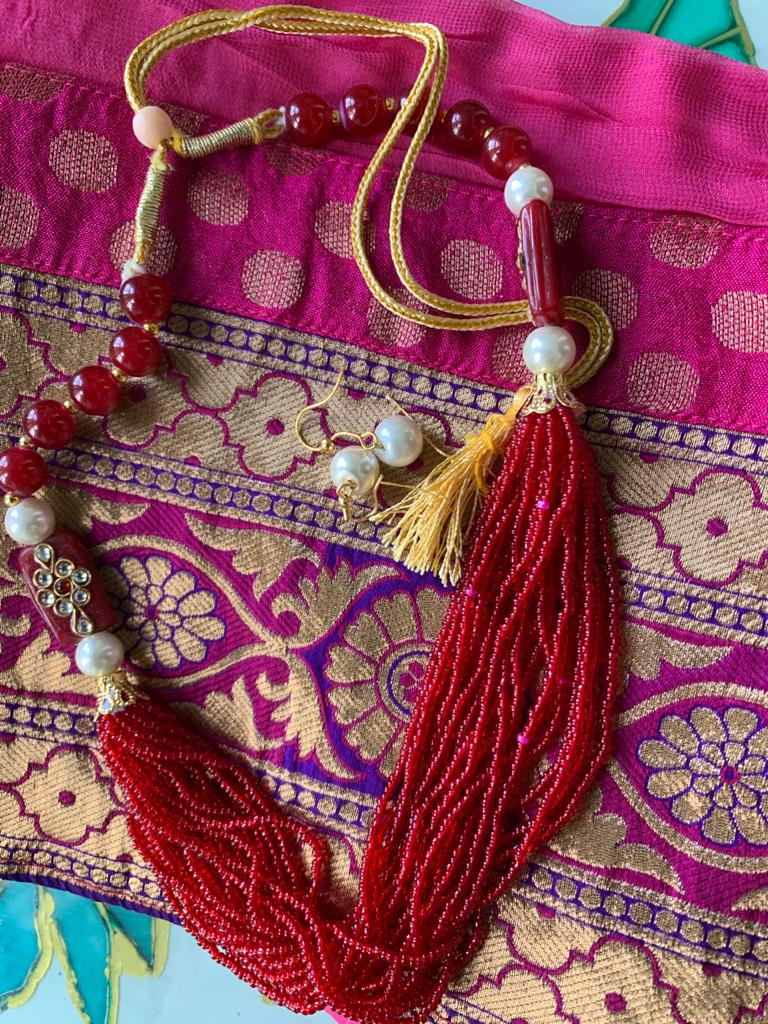 Seed bead multi layer combination necklace set - Red