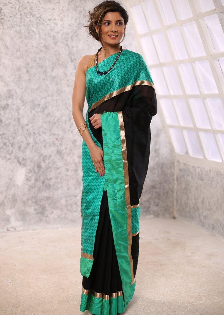 Black Chanderi saree with geometric silk border