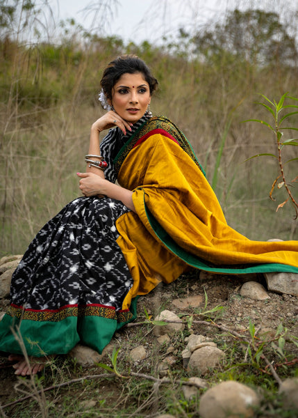 Black ikat & mustard cotton silk combination saree with ajrakh border