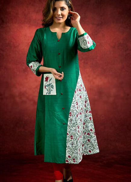 Green Cotton Silk Kurti with Jaipuri Block Print Combination
