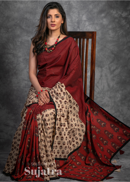 Exclusive designer Ajrakh block printed  handloom saree