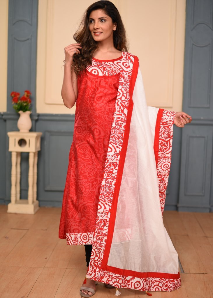 Cotton printed with redchanderi double layered dress with dupatta
