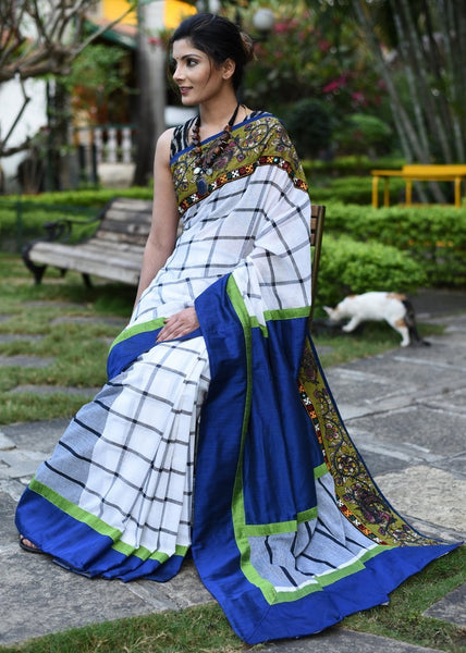 Exclusive gamcha cotton handloom saree with printed kalamkari border & kutch mirror work - Sujatra