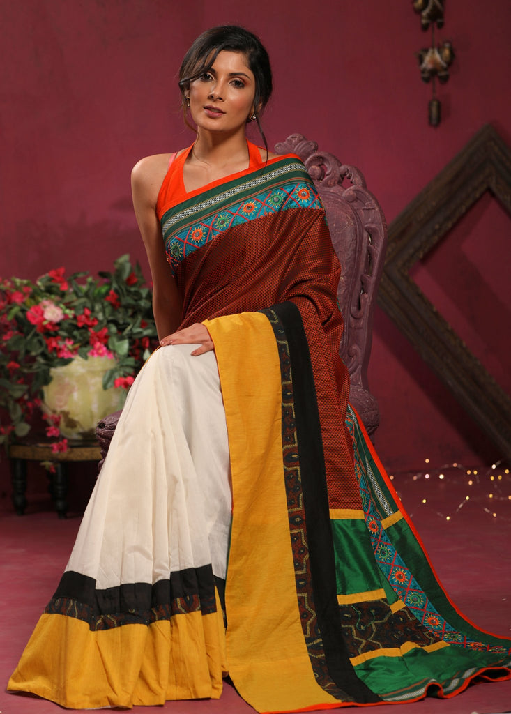 Combination of maharashtiran Khun and Ajrakh saree with mirror work border & chanderi pleats - Sujatra