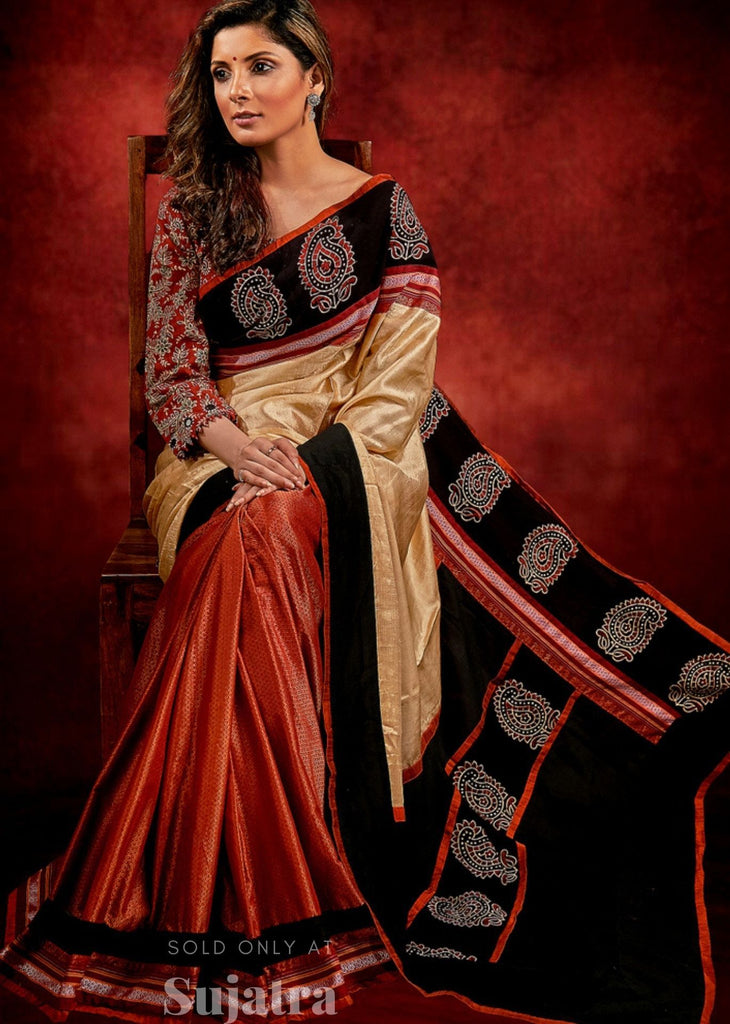 Exclusive Khun & tussar silk combination saree with Ajrakh block printed border