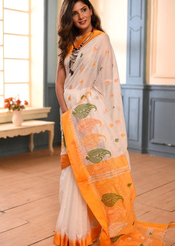 Exclusive bengal handloom cotton embroidered saree