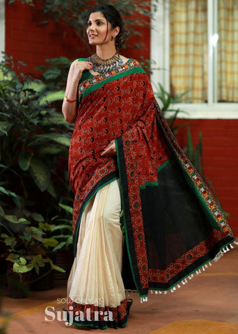Block printed Ajrakh saree with mirror work & chanderi pleats