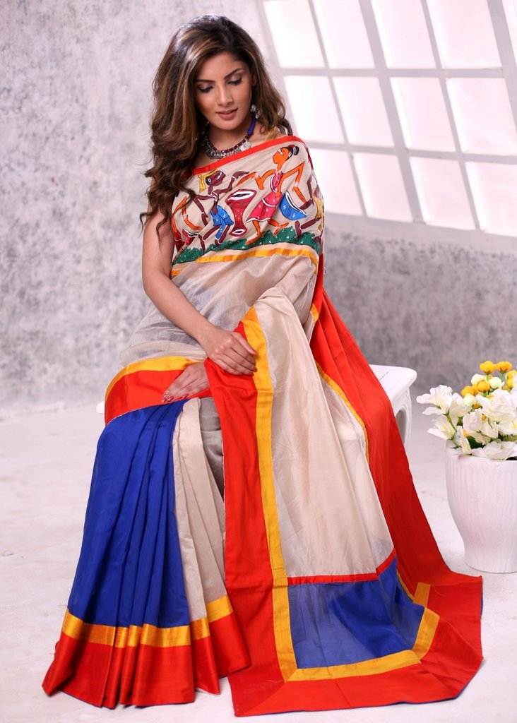 Beige & blue chanderi saree with hand painted saothal painting