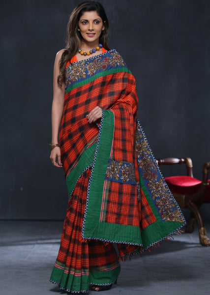 Gamcha cotton saree with printed kalamkari border