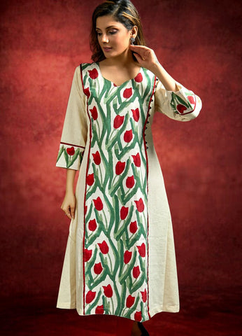 Handloom Cotton Kurta with Jaipuri Block Printed Combination