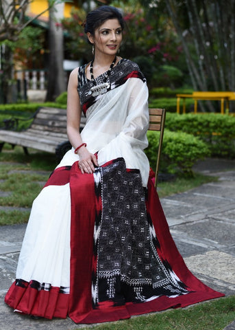 White chanderi saree with kantha work pallu & ikat work