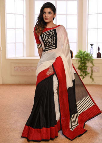 Exclusive white & black chanderi saree combination saree with batik patch on front