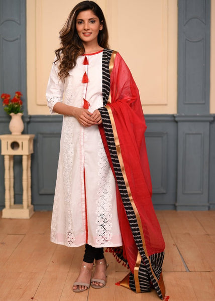 White cut work dress with dupatta
