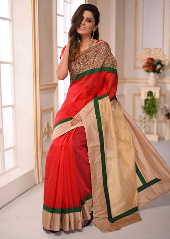 Exlusive red chanderi saree with hand painted madhubani border