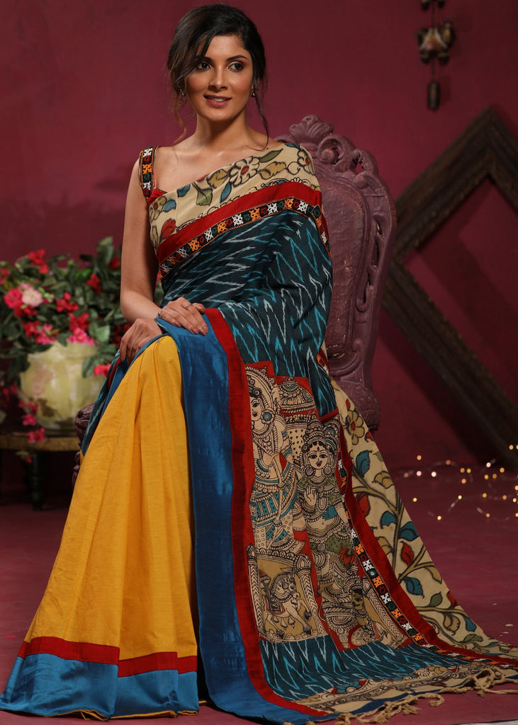 Ikat & handpainted kalamkari combination saree with handloom cotton pleats - Delivery in 7-10 days - Sujatra