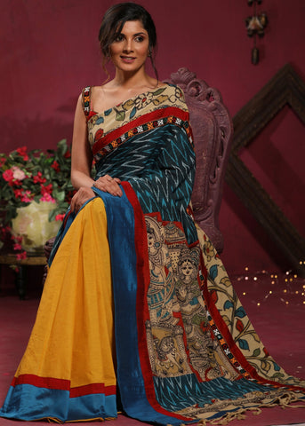 Ikat & handpainted kalamkari combination saree with handloom cotton pleats