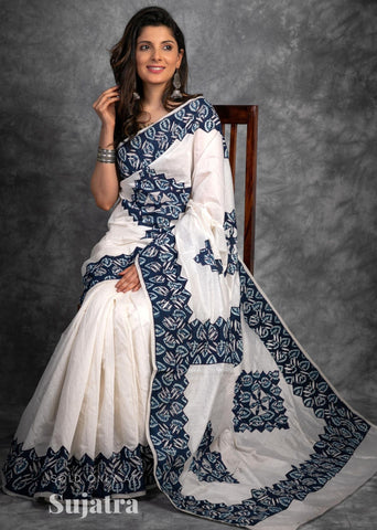 White chanderi saree with indigo printed applique work