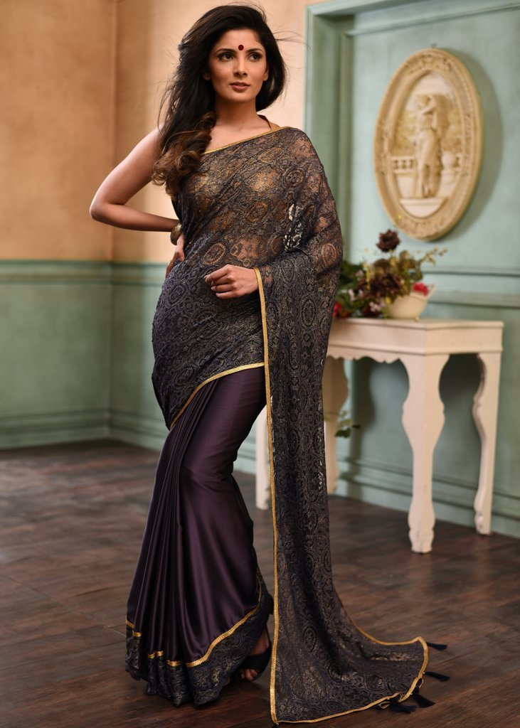 Intricate lace & purple satin combination desinger saree