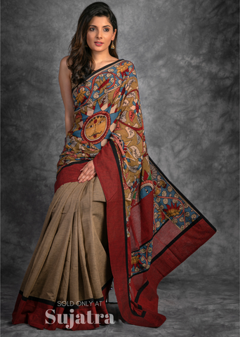 Exclusive hand painted kalamkari saree combined with dark beige handloom cotton