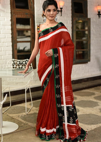 Red pure linen saree with exclusive printed border & pallu