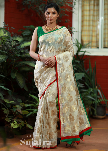 Exclusive woven tissue saree with floral motifs - Sujatra