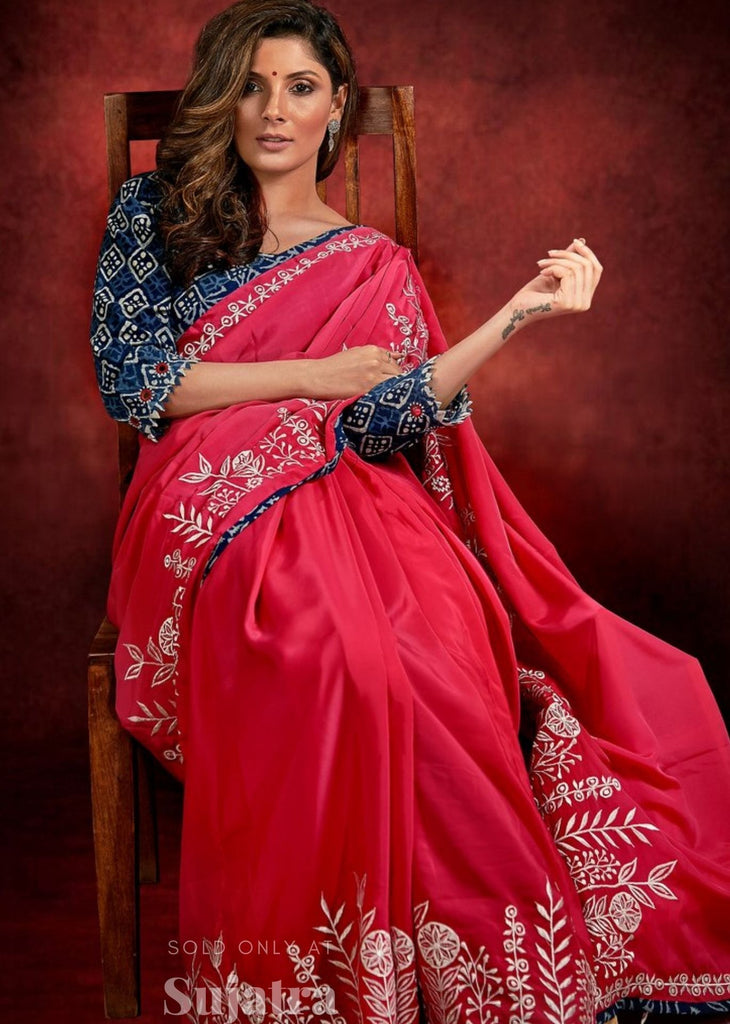 Pink satin saree with exclusive embroidery & indigo lining