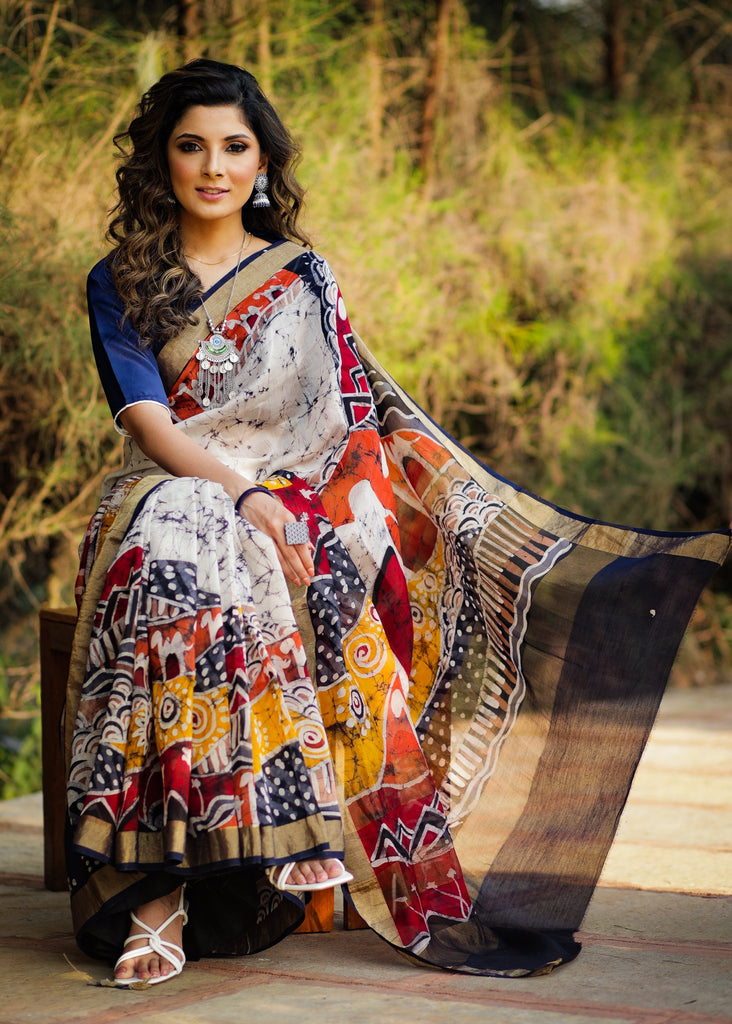 Exclusive hand batik pure chanderi saree with abstract designs