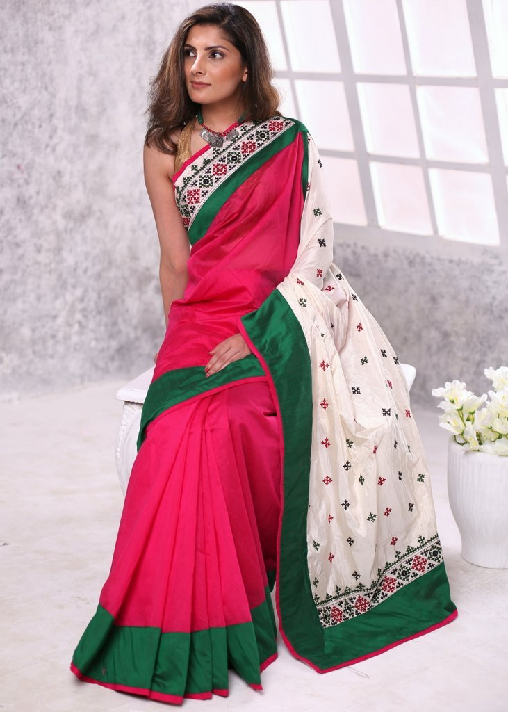 Pink chanderi saree with gujarati hand embroidered pallu and border