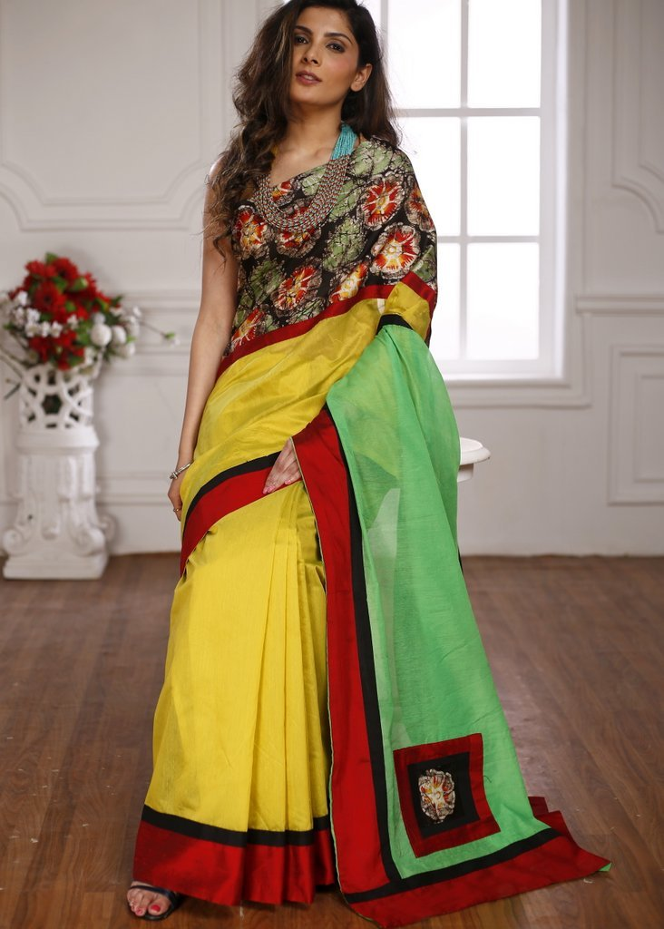 Hand batik work in front with yellow & green chanderi combination saree