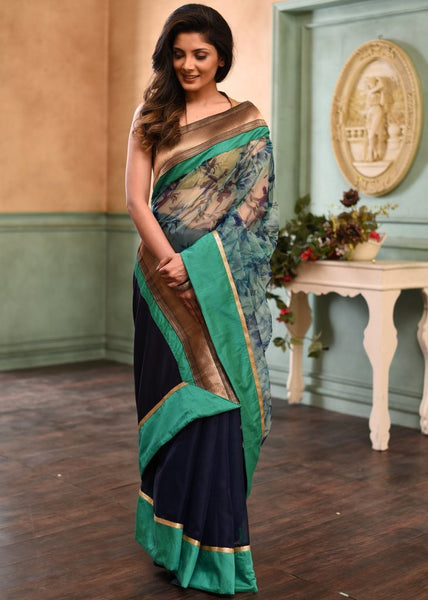 Floral printed organza with royal blue organza pleats saree with zari border