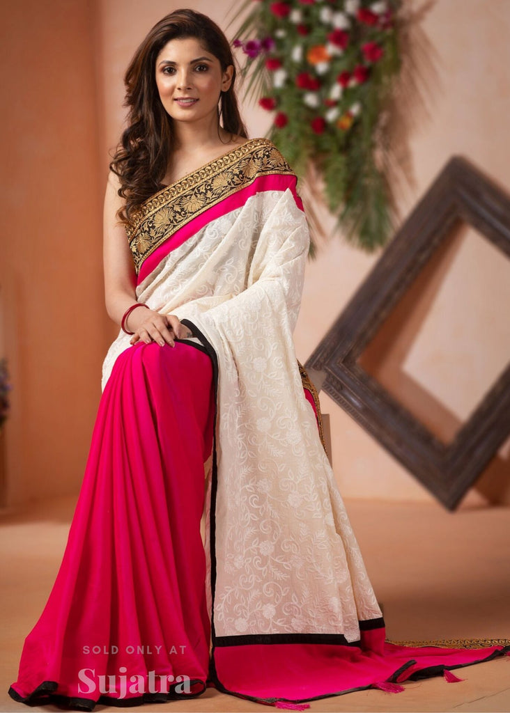 Exclusive chikan work saree with pink crepe satin pleats & heavy zari border