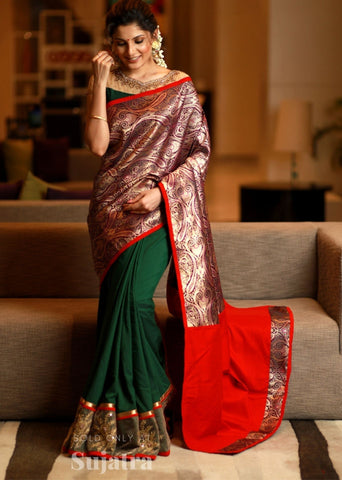 Green crepe satin saree with benarasi combination