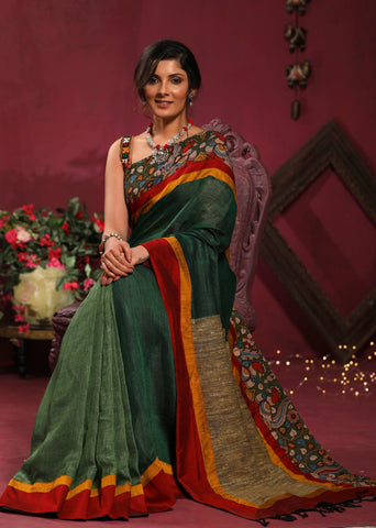 Green pure linen saree with hand painted kalamkari border