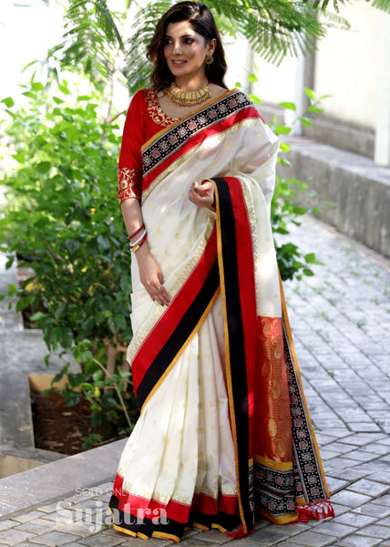 Exclusive Bengali garad pure silk saree with block printed border